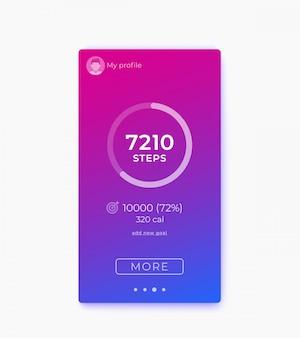 Application de fitness, tracker d'activité et compteur de pas ui, interface mobile
