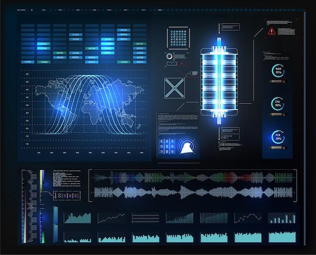 Application hud ui. interface utilisateur futuriste hud et éléments infographiques. graphique virtuel abstrait