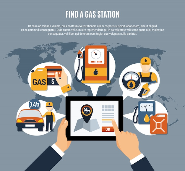 Application infographique de pompe à carburant