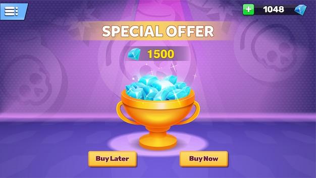 Application de jeu avec des gemmes en magasin et menu de l'écran de la boutique