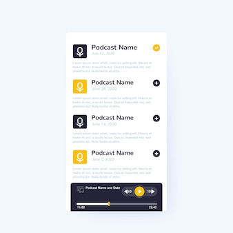 Application et lecteur de podcast, conception d'interface utilisateur mobile, interface vectorielle