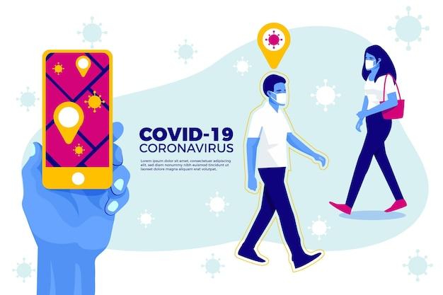 Application de localisation de suivi des coronavirus - concept
