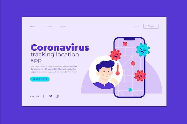 Application de localisation de suivi des coronavirus - page de destination