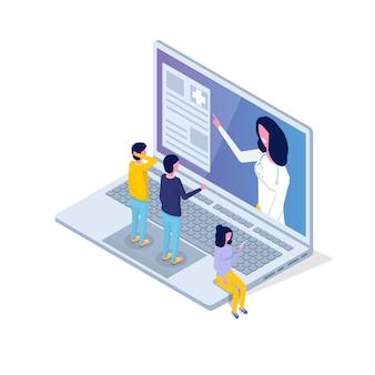 Application médicale, concept isométrique de technologie de santé. illustration vectorielle.
