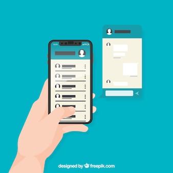 Application messenger dans un style plat