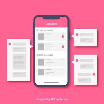 Application messenger pour discuter dans un style plat
