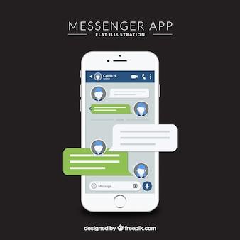 Application messenger pour mobile dans un style plat