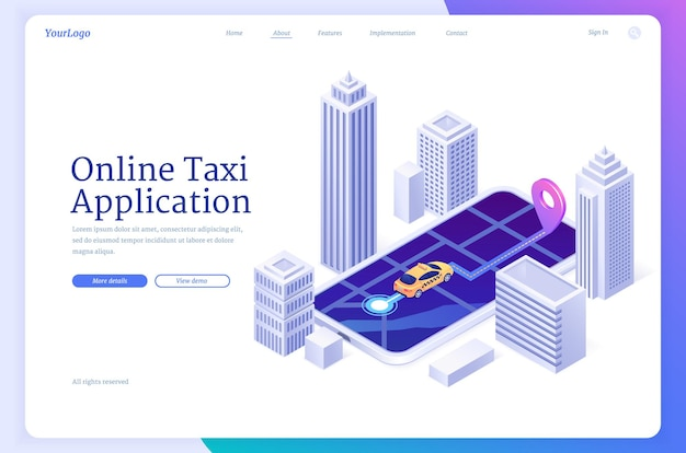 Application mobile de bannière d'application de taxi en ligne pour commander la page de destination du vecteur de transport de passagers du site web de la cabine ...