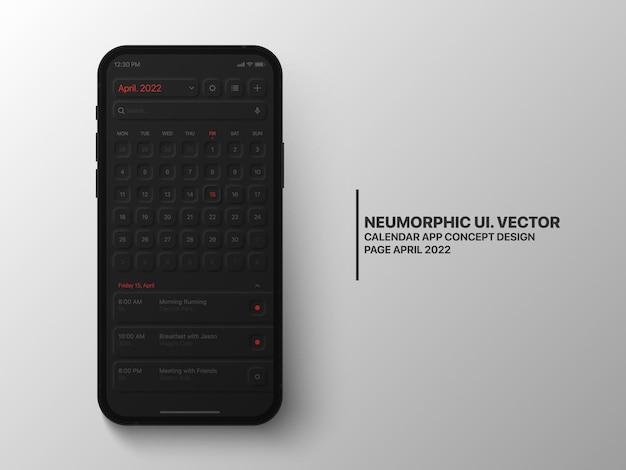 Application mobile de calendrier avril 2022 avec l'interface utilisateur du gestionnaire de tâches, version sombre de la conception neumorphique