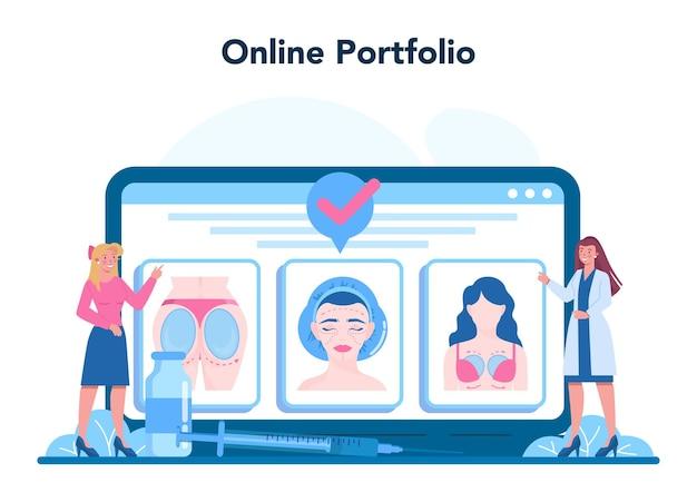 Application mobile de chirurgien plasticien. idée corps et visage
