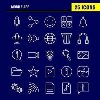 Application mobile icons set