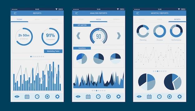 Application mobile de l'interface de tableau de bord des rapports de gestion d'entreprise