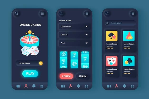 Application mobile d'interface utilisateur de conception neumorphique moderne de casino en ligne