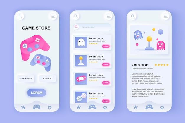 Application mobile d'interface utilisateur de conception neumorphique moderne de magasin de jeux