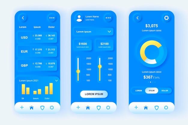 Application mobile d'interface utilisateur de conception neumorphique moderne de services financiers