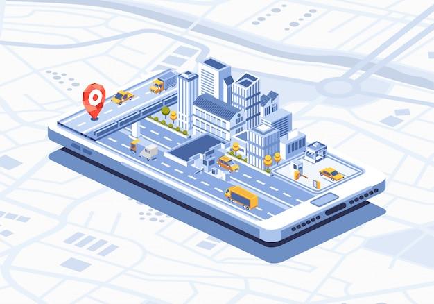 Application mobile isométrique de la ville intelligente sur l'illustration du smartphone