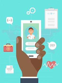 Application mobile de médecine en ligne. la main tient le smartphone avec une consultation médicale en ligne avec un médecin. médecin en ligne. application de soins de santé médicaux.