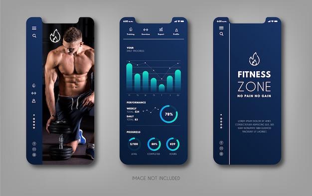 Application mobile pour la couleur bleu gym.