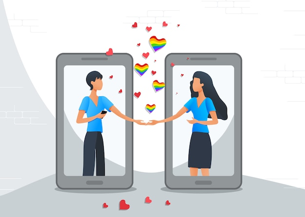 Application mobile de rencontres en ligne, couple lesbien lgbt dans des relations virtuelles à l'aide de smartphones