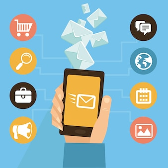 Application mobile vectorielle - email marketing et promotion - infographie style plat