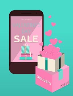 Une application mobile avec une vente de la saint-valentin illustration vectorielle plate livraison en ligne de marchandises pour