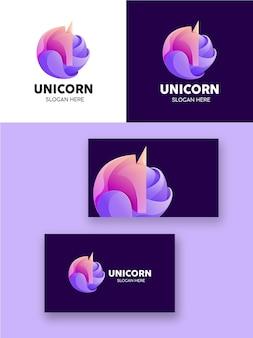 Application moderne de logo coloré dégradé de licorne
