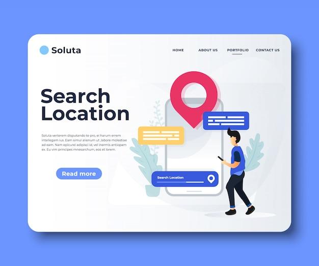 Application de navigation avec carte et emplacement page de destination.