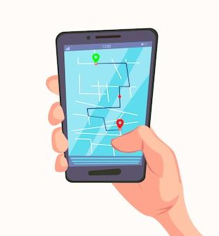 Application de navigation avec carte sur téléphone portable à la main.