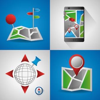 Application de navigation gps bannières colorées ubication emplacement destination monde technologie