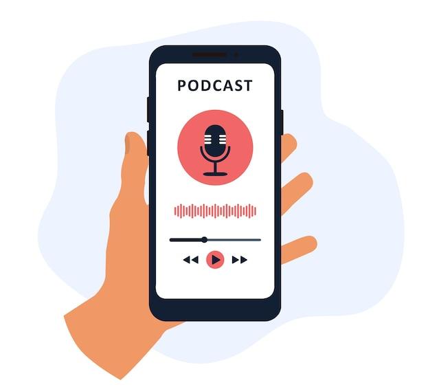 Application de podcast dans un téléphone mobile en main