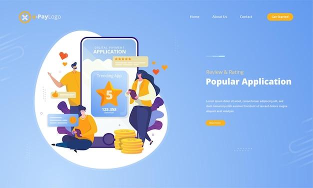 Application populaire avec avis client et évaluation sur le concept d'illustration