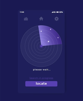 Application de recherche avec radar, conception d'interface utilisateur mobile