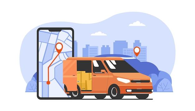 Application de service de livraison sur smartphone. fourgon cargo et paysage urbain abstrait en arrière-plan. illustration vectorielle.