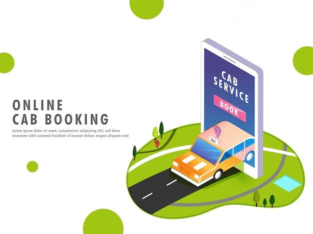 Application de service de taxi en ligne dans un smartphone.