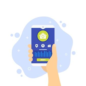 Application smart home, téléphone en main,