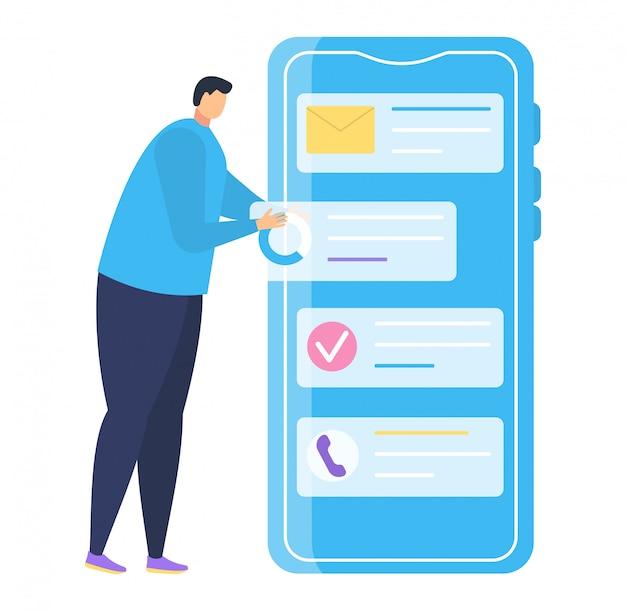 Application de téléphone mobile de petit homme caractère, infographie de smartphone stand masculin sur blanc, illustration.