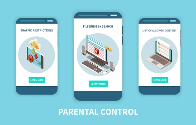 Applications consultatives de contrôle numérique parental 3 écrans de smartphone mobiles verticaux avec restrictions de trafic de filtrage de contenu