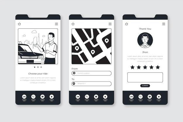 Applications incolores dessinées à la main au design plat