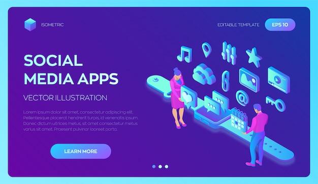 Applications de médias sociaux sur une montre intelligente. icônes isométriques des médias sociaux. application mobile.