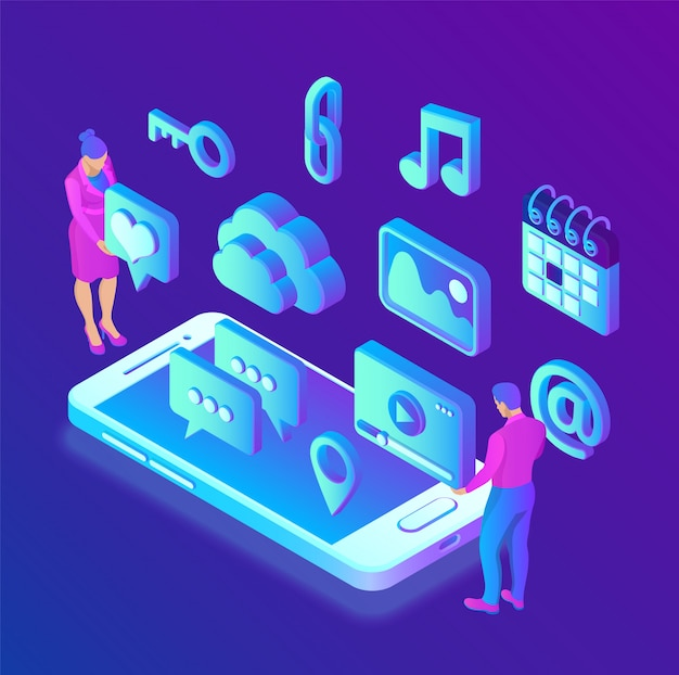 Applications de médias sociaux sur un smartphone. médias sociaux 3d icônes isométriques. application mobile.