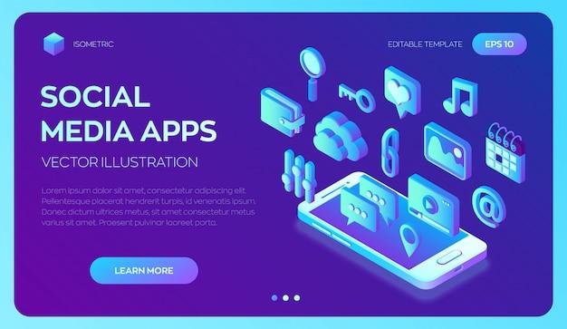 Applications de médias sociaux sur un smartphone. les médias sociaux 3d isométrique.