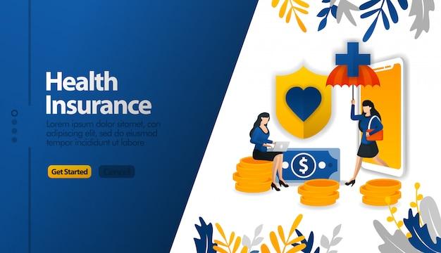 Applications mobiles d'assurance maladie avec parapluies et boucliers de protection