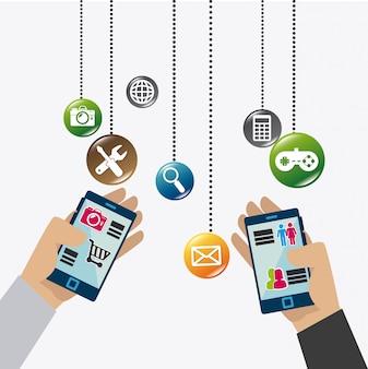 Applications mobiles et conception d'icônes technologiques.