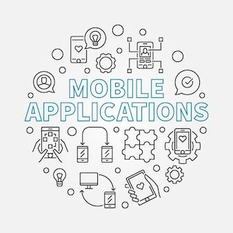 Applications mobiles rondes contour icône illustration