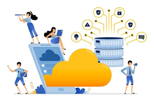 Des applications pour les services de stockage mobile en téléchargeant des données et des fichiers sur le serveur d'hébergement de base de données