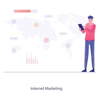 Applications sociales liées au marketing d'affiliation dans une illustration à plat