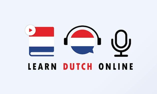 Apprendre la bannière en ligne néerlandaise. cours vidéo, enseignement à distance, séminaire web. vecteur eps 10. isolé sur fond.