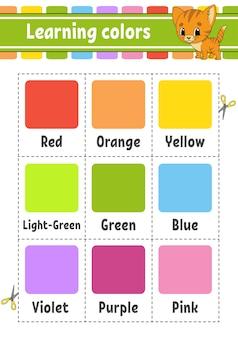 Apprendre les couleurs. un ensemble de cartes flash de différentes couleurs.
