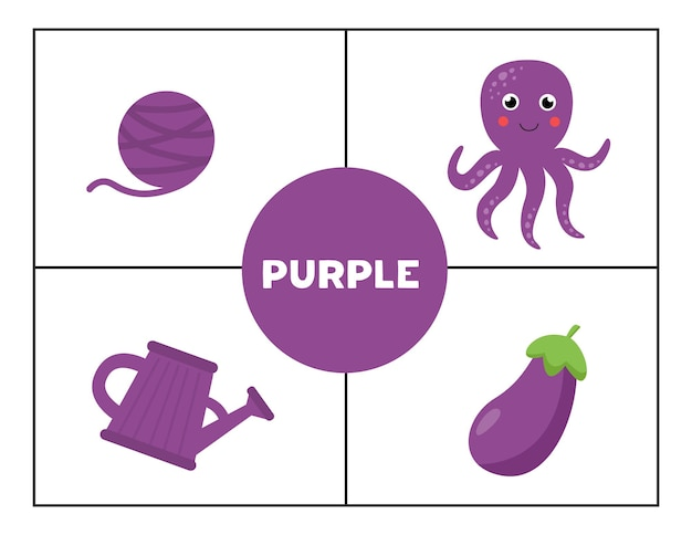 Apprendre les couleurs primaires de base pour les enfants. violet.