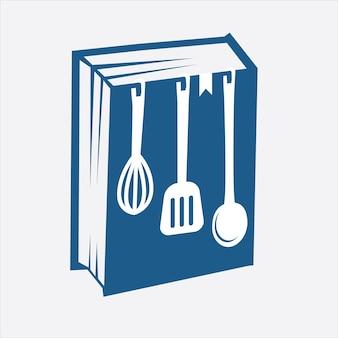 Apprendre à cuisiner logo avec une combinaison de livres et d'ustensiles de cuisine